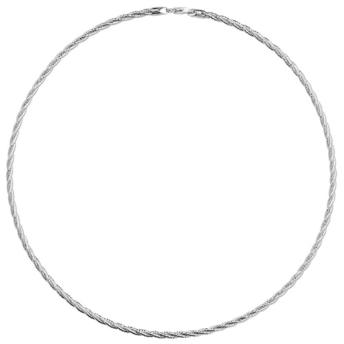 Sterling silver, rhodium plated plaited necklace