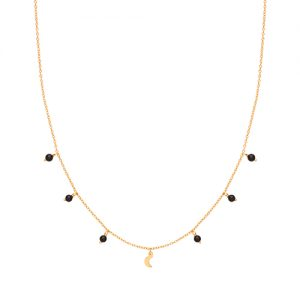 Gold Black Agate Charm Necklace