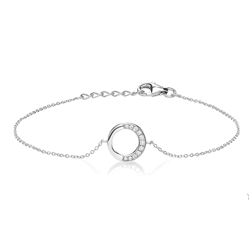 Partial Set Halo CZ Silver Bracelet with Rhodium Plating