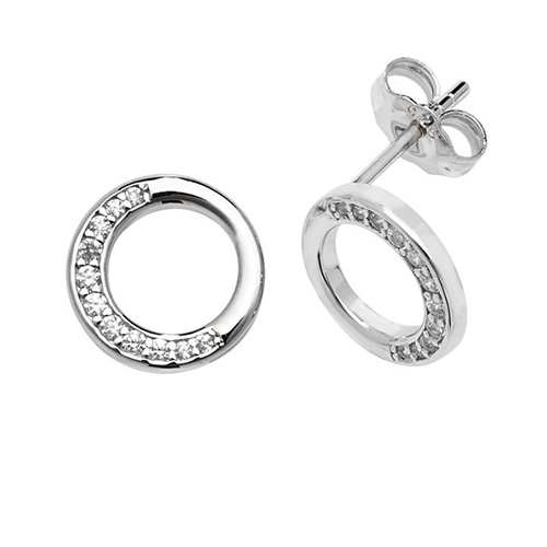 Sterling Silver Partial Halo Circle CZ Earrings with Rhodium Plating