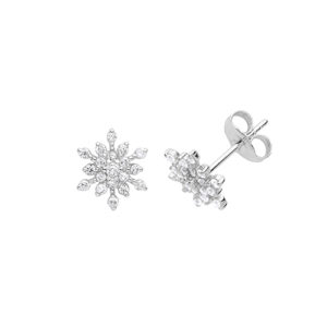 Sterling Silver Snowflake Earrings with CZ Stones