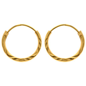 Sterling Silver Gold Plated Diamond Cut Hoops