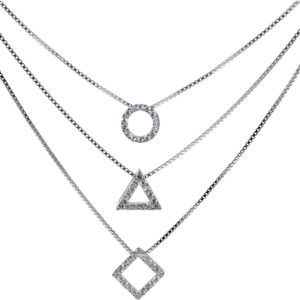 Sterling Silver Triple Layered Geometric Necklace with CZ Stones