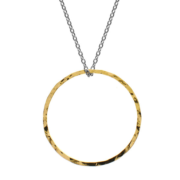 Two Tone Hammered Open Circle Necklace