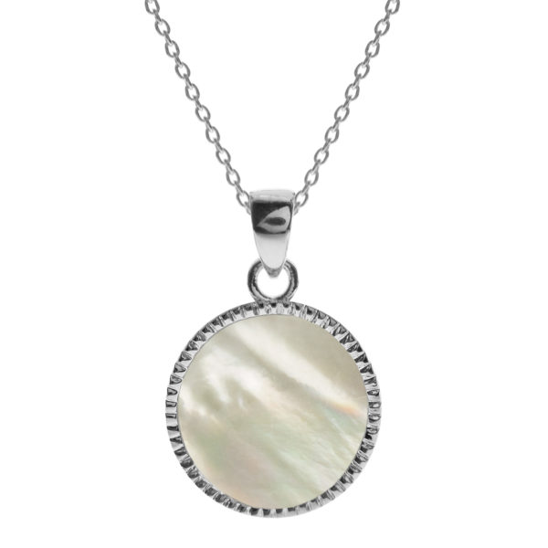 Sterling Silver Crimped Edge Mother of Pearl Necklace