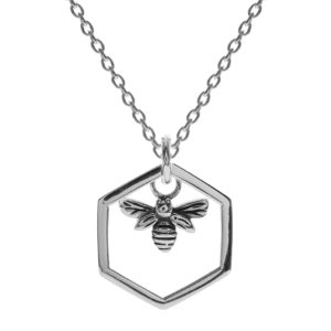 Sterling Silver Oxidised Hexagonal Bee Necklace
