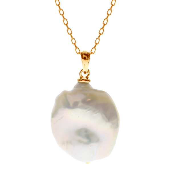 Sterling Silver Gold Plated Large Drop Baroque Pearl Necklace