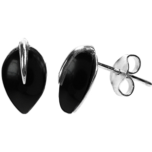 Sterling Silver Black Onyx Teardrop Stud Earrings