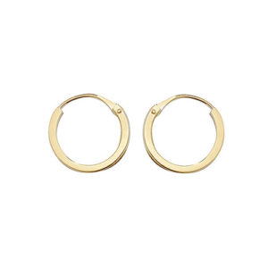 9ct Yellow Gold 8mm Flat Sleeper Hoop Earrings