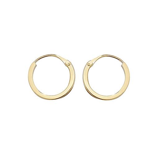9ct Yellow Gold 8mm Flat Sleeper Hoop Earrings